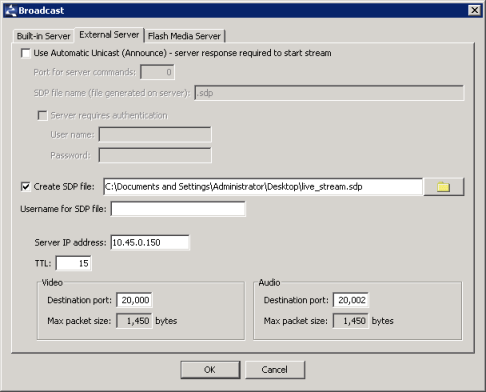 Stream encoder RTP broadcast SDP settings