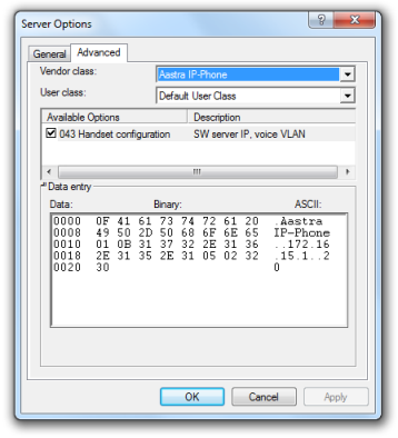 Aastra IP Phone handset configuration options
