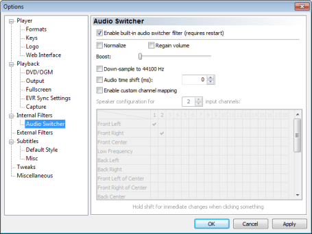 Audio switcher settings