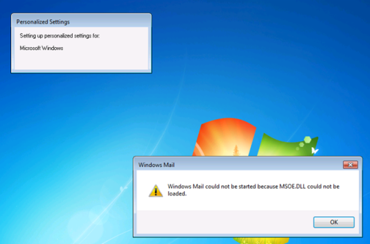 Windows Mail could not be started because MSOE.DLL could not be loaded