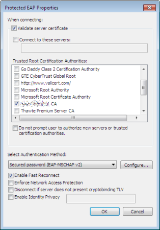 Manual connection settings for Windows 7 (part 2)