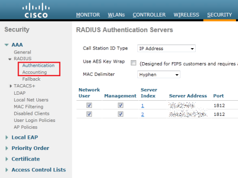 Wireless LAN Controller RADIUS server settings