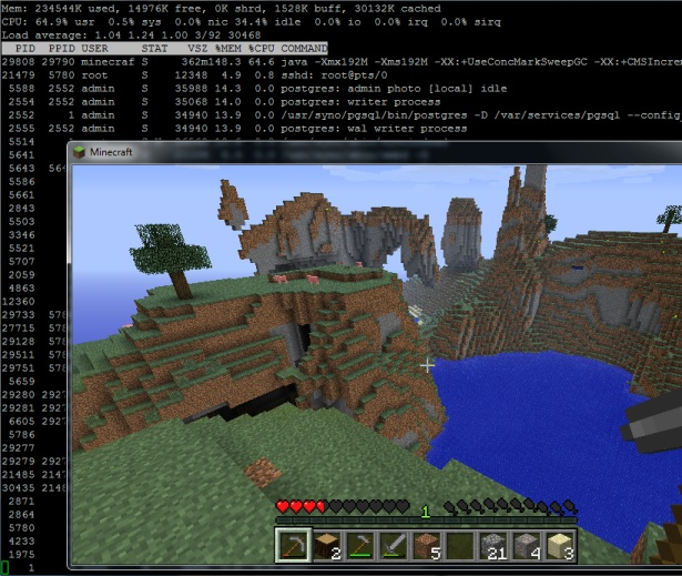 Minecraft running showing draw distance and server load