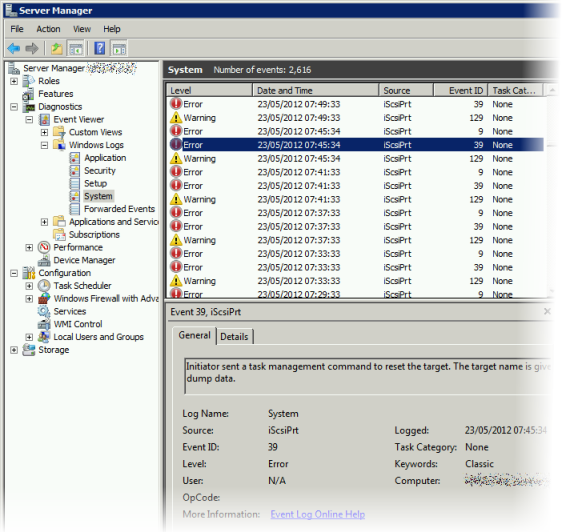 Windows Xp Error Log: EqualLogic, ISCSI And The Windows Server 2008 R2 Firewall